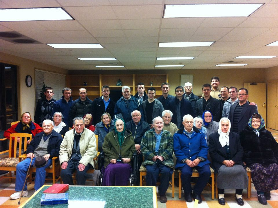A group of our brothers visiting a retirement home